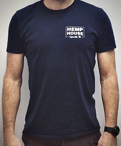CBD near me Knoxville, TN navy short sleeve t-shirt Hemp House Knoxville