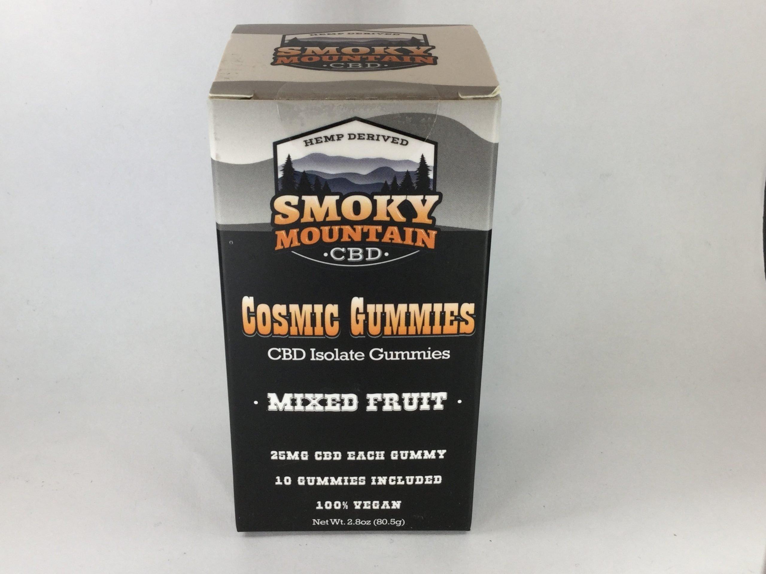 CBD near me Smoky Mountain CBD cosmic gummies mixed fruit 25mg 250mg per box Hemp House Knoxville Made in Tennessee