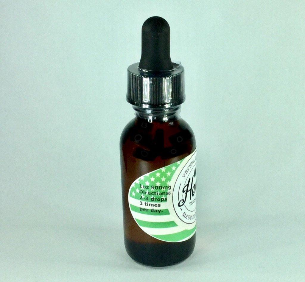 CBD near me Veteran Grown CBD oil hemp extract made in TN 1 oz. 500mg hemp house side